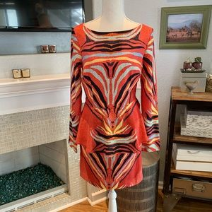 Mara Hoffman 6 Zebra Print Peplum Dress EUC